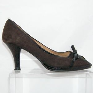 dfab9c09e7e Sofft Shoes - Sofft brown suede peep toe bow patent trim heel 8M